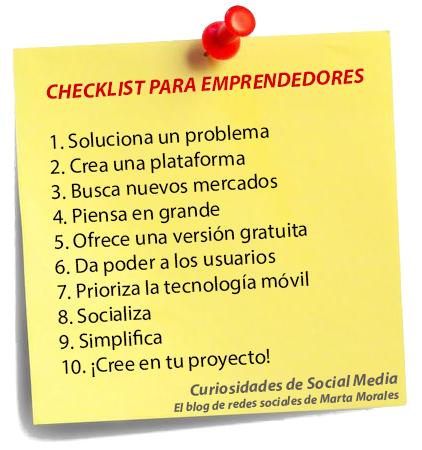 checklist para emprendedores, marta morales castillo periodista community manager blog curiosidades de social media