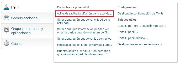 instrucciones para desactivar temporalmente las actualizaciones de actividad en Linkedin Marta Morales blog curiosidades social media redes sociales periodismo community management