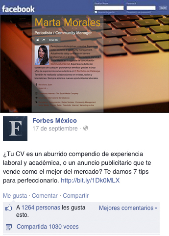 curriculum original facebook revista forbes mexico marta morales periodista community manager blog curiosidades de social media